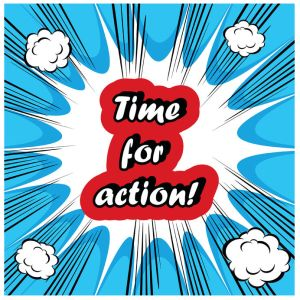 51387490 - comic time for action stamp background
